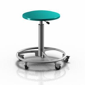 医療施設スツール / 高さ調整可能 / 空気 / ステンレススチール製