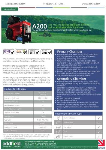 Addfield A200 Animal Waste Incinerator Datasheet