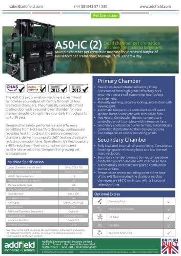 Addfield A50-IC (2) Pet Cremation Machine Datasheet