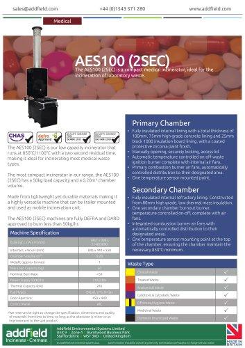 Addfield AES100 (2SEC) Compact Incinerator Datasheet