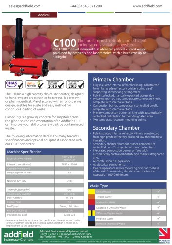 Addfield C100 Clinical Waste Incinerator Datasheet