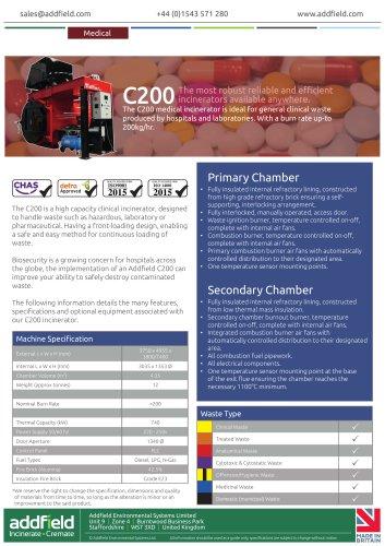 Addfield C200 Clinical Waste Incinerator Datasheet