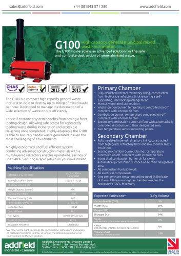 Addfield G100 General Waste Incinerator Datasheet