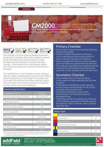 Addfield GM2000 Medical Waste Incinerator Datasheet