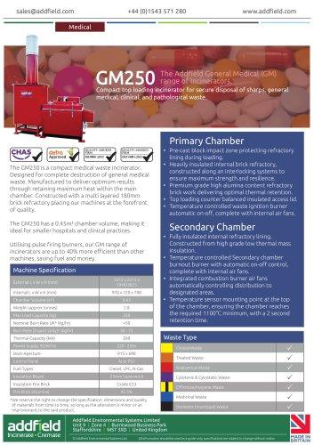 Addfield GM250 Medical Waste Incinerator Datasheet