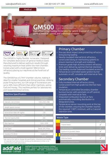 Addfield GM500 Medical Waste Incinerator Datasheet