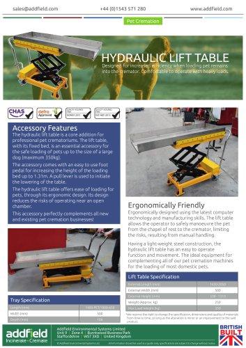 Addfield Hydraulic Lift Table Datasheet