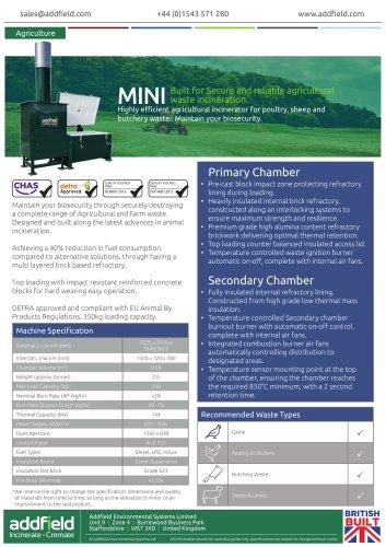 Addfield Mini Agricultural Incinerator Datasheet
