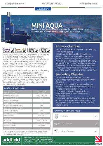 Addfield Mini AQUA Aquacultural Waste Incinerator Datasheet