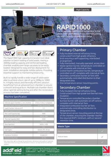 Addfield RAPID1000 High Capacity Waste Incinerator Datasheet