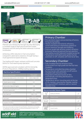 Addfield TB-AB Agricultural Incinerator Datasheet