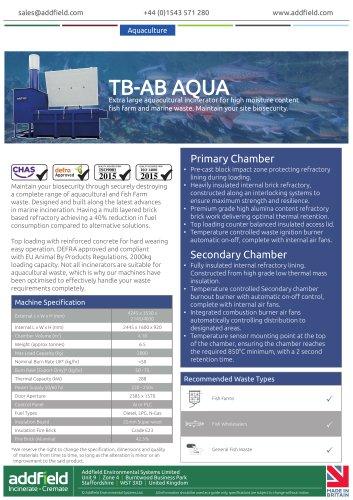 Addfield TB-AB AQUA Aquacultural Waste Incinerator Datasheet