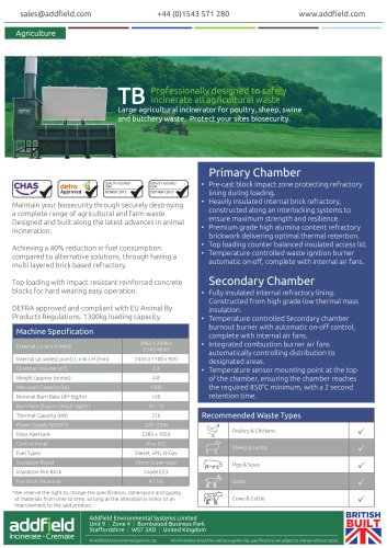 Addfield TB Agricultural Incinerator Datasheet
