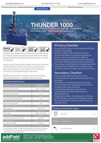 Addfield Thunder 1000 Aquacultural Waste Incinerator Datasheet