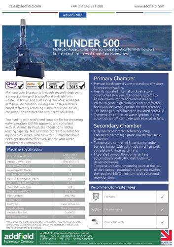 Addfield Thunder 500 Aquacultural Waste Incinerator Datasheet