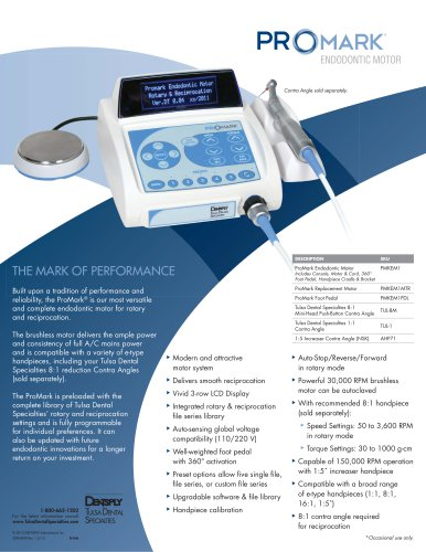 ProMark® Endodontic Motor Fact Sheet