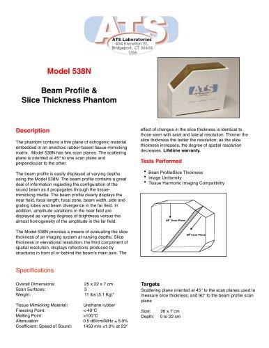 Model 538NH Beam Profile & Slice Thickness Phantom