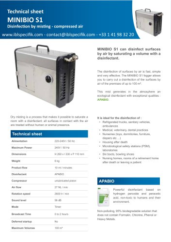 AERIAL MIST DISINFECTION FOR AMBULANCE - MINIBIO S1