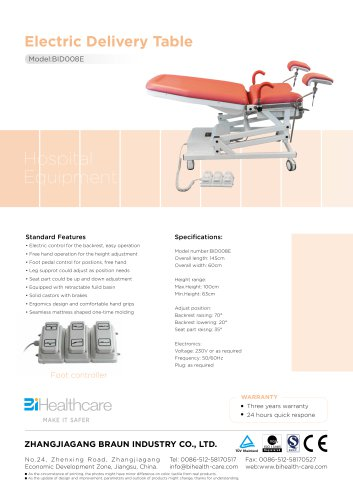 Brochure_Electric delivery table(BID008E)_BiHealthcare