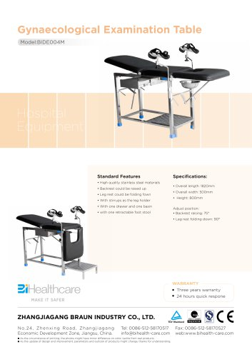 Brochure_Gynaecological Examination Table(BIDE004M)_BiHealthcare