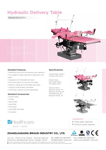 Brochure_Hydraulic delivery table(BID007H)_BiHealthcare