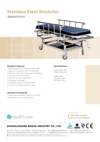Brochure_Stainless Steel Stretcher(BIPT006S)_BiHealthcare