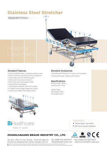 Brochure_Stainless Steel Stretcher(BIPT006SC)_BiHealthcare