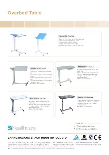 Catalogue_Overbed Table_BI Healthcare