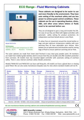 ECO range Fluid Warming Cabinets