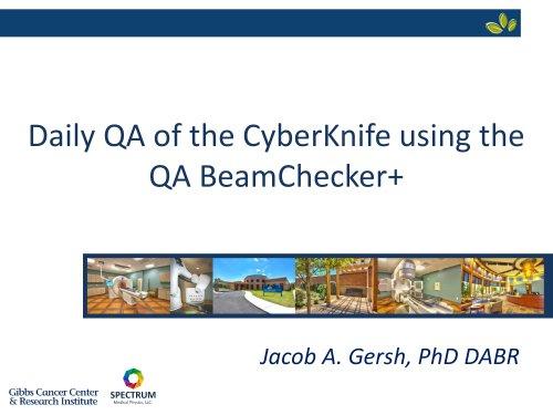 Jacob Gersh, PhD, DABR AAPM Talk
