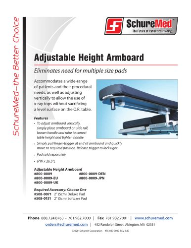 Adjustable Height Armboard Sell Sheet