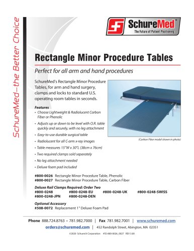 Carbon Fiber Minor Procedure Table Sell Sheet