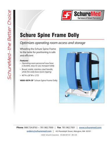 Schure Spine Frame Dolly Sell Sheet