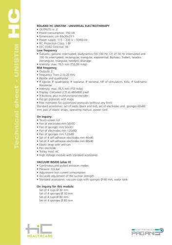 Technical sheet - UNISTIM HC