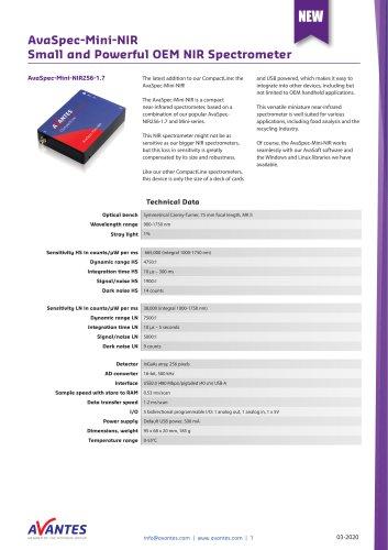 AvaSpec-Mini-NIR Small and Powerful OEM NIR Spectrometer