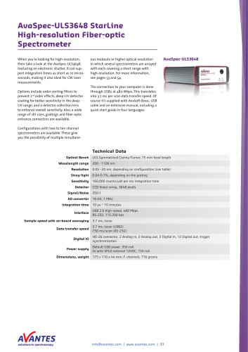 AvaSpec-ULS3648 StarLine High-resolution Fiber-optic Spectrometer