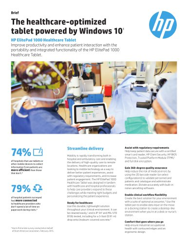 The healthcare-optimized tablet powered by Windows 101 HP ElitePad 1000 Healthcare Tablet
