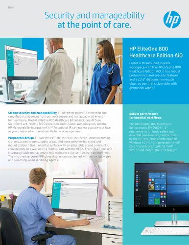 HP EliteOne 800  Healthcare Edition AiO