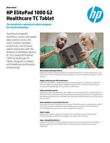HP ElitePad 1000 G2 Healthcare TC Tablet