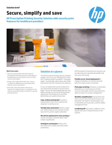 HP Prescription Printing Security Solution adds security print features for healthcare providers