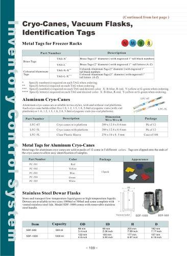 Cryo-Canes, Vacuum Flasks, Identification Tags