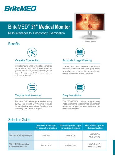 BriteMED MMS-21 Endoscopy Monitor Series