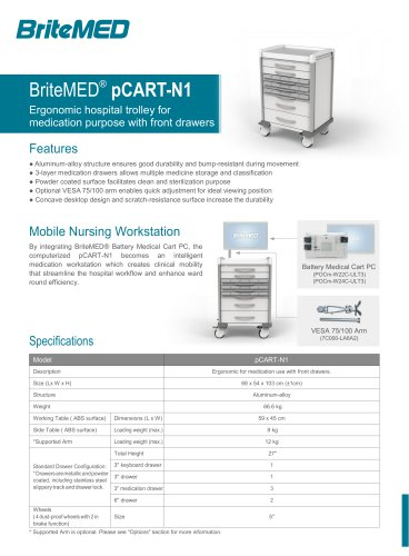 BriteMED pCART-N1 Medication Cart