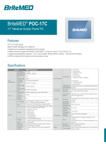 BriteMED POC-17C Medical Panel PC