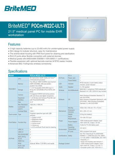 BriteMED POCm-W22C Medical Panel PC with Hot-swappable Li-Ion Batteries