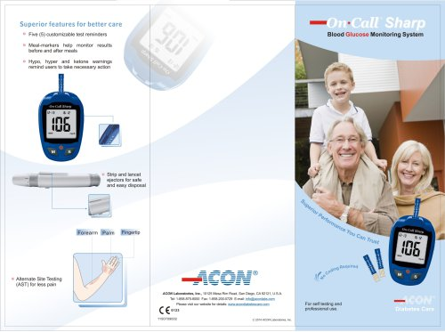 On Call® Sharp Blood Glucose Monitoring System - For self testing and professional use.