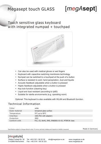 megAsept touch GLASS keyboard