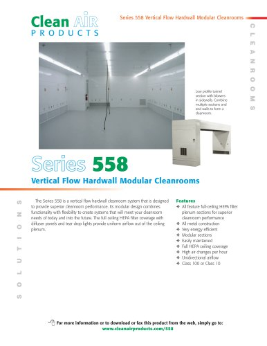 Series 558 Vertical Flow Hardwall Modular Cleanrooms