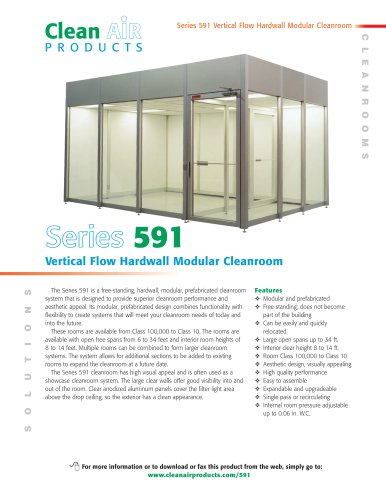 Series 591 Vertical Flow Hardwall Modular Cleanroom