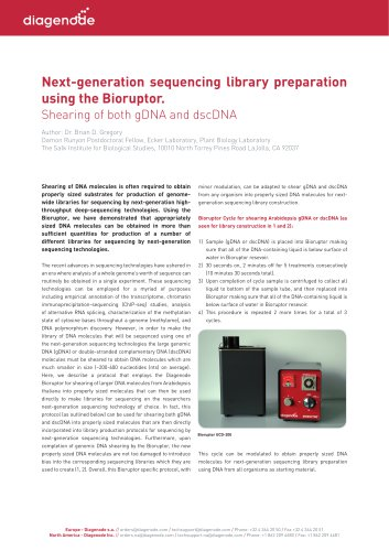 Next-generation sequencing library preparation using the Bioruptor.